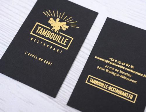 cartes de visite restaurant en marquage à chaud or mat sur colorplan 350gr ebony black