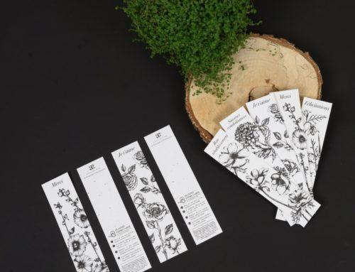 Marque page botaniques avec illustrations florales – Papier Ensemencé aux graines de fleurs sauvages 280gr/m2