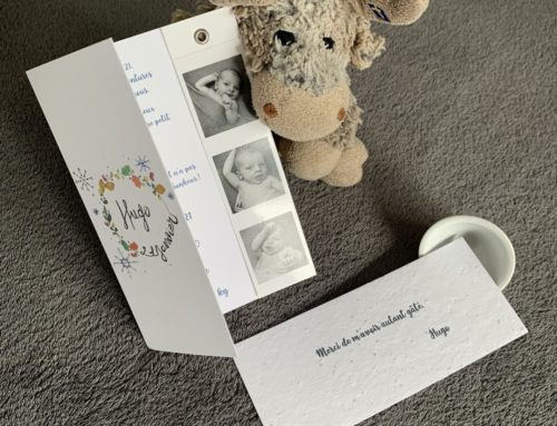 Faire-part de naissance aquarelle et planche photomaton – Old mill 300g – Papier ensemencé fleurs sauvages 280gr/m2