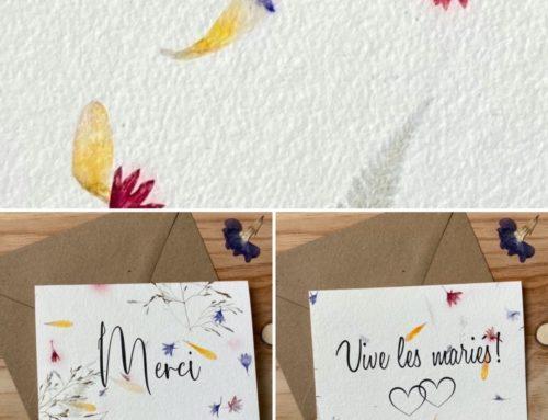 Cartes de remerciements Mariage sur papier recyclé fait main avec inclusions de fleurs sauvages – 180gr/m2