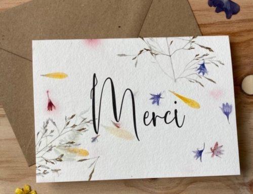 Cartes de remerciements sur papier recyclé fait main avec inclusions de fleurs sauvages – 180gr/m2