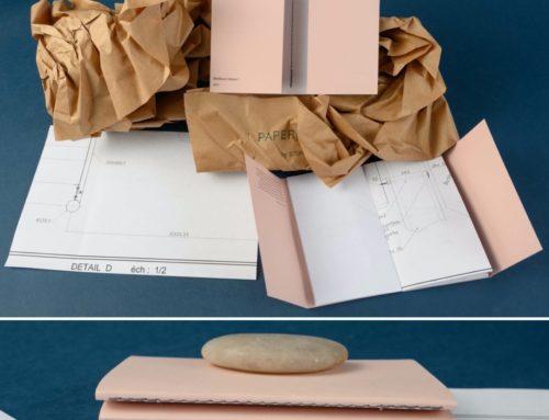 Carte de voeux carnet de note en couture singer grise avec papier issu d'ancien plans d'architecte – Papier recyclé rose poudré Woodstock Cipria