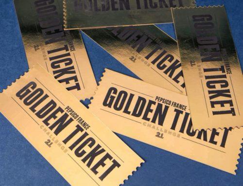 Ticket d'or Challenge entreprise – Dorure numérique Or brillante et découpe laser Golden Ticket