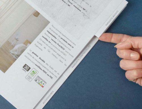 Brochure pour Showroom parquet  en piqure à cheval avec découpe d'onglets repertoire – Papier Recyclé Nautilus superwhite