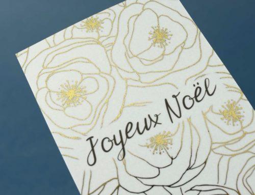 Carte joyeux noël fleurie pour artiste – Dorure numérique sur papier calque 230gr/m2