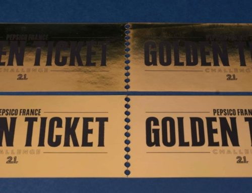 Coupon imitation Golden ticket en dorure à chaud or numérique et découpe laser