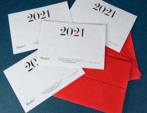 Carte de voeux 2021 haut de gamme avec dorure gablée en pointe de diamant bi couleur Noir et Rouge métal – Papier Pur coton cocaïne 350gr/m2