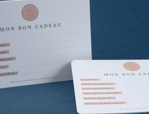 Carte bon cadeau Institut de beauté sur papier texturé avec angles arrondis – Création Pack 350gr/m2