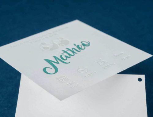 Faire part de naissance ours en Letterpess 2 couleurs vert et gris clair – Papier Pur Coton 350gr/m2