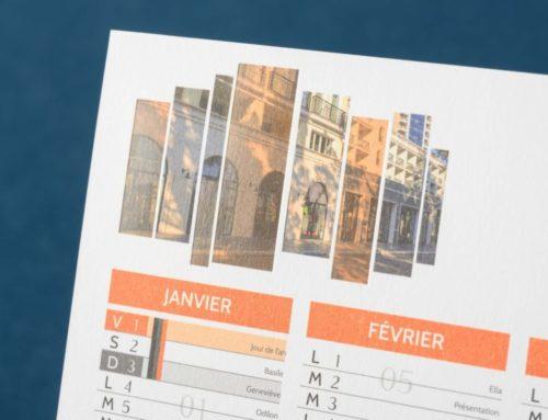 Calendrier agence immobilière avec dorure transparente sur papier de création Old Mill contre collé 600gr/m2