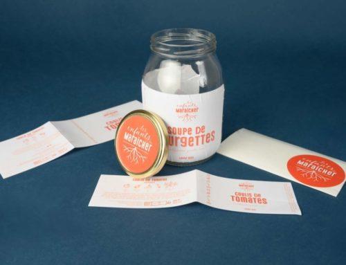 Etiquettes Soupes Maraicher sur papier adhésif velin recyclé