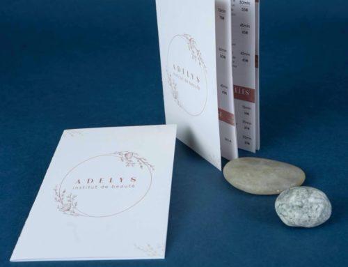 Brochure tarifaire pour institut de beauté format 13×18 – reliure 2 pics métal