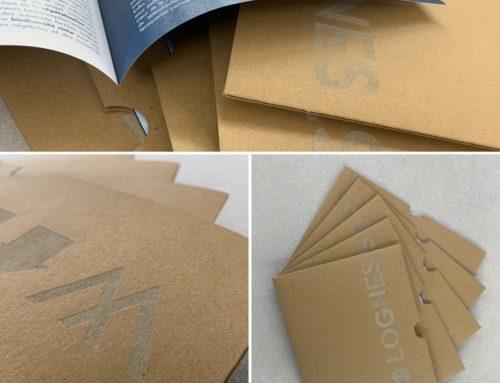 Rendu de projet promoteur immobilier avec pochette sur mesure en gravure laser sur papier kraft recyclé 350gr/m2