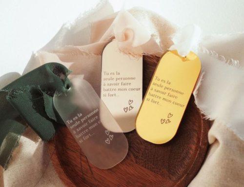 Plexis mantras personnalisés en miroir argent, or ou rose gold avec rubans sur mesure
