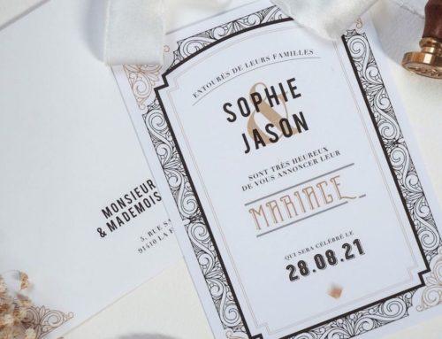 Faire-part de mariage rétro Gatsby – Olin regular pur blanc 400gr/m2
