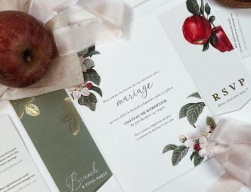 Faire-part de mariage en pochette 3 volets thème vergé champêtre et ruban de soie – Dorure à chaud Or Mat – forme de découpe – Tintoretto gesso 250gr/m2