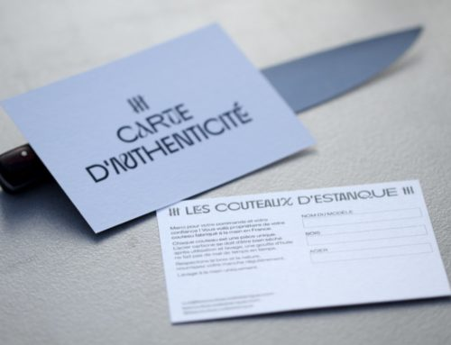 Carte d'authenticité artisan coutelier en impression noir – Colorplan White Frost 350gr/m2
