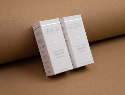 Packaging Cosmétique Masque Purifiant – Pantone Gris 431C – Pelliculage Soft touch – Dorure à chaud argent brillante et découpe.à la forme
