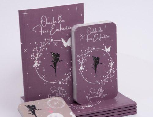 Jeu de cartes tarot Oracle des fées et son livre – Reliure dos carré collé – pelliculage mat – découpe de cartes angles arrondis