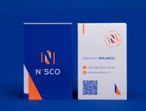 Cartes de visite Pantone Fluo Orange 804C et Bleu Reflex et QR code – couché mat 350gr/m2