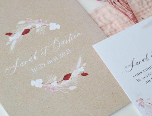 Faire-part de mariage champêtre chic avec impression imitation kraft sur Old Mill 300gr/m2 Premium White