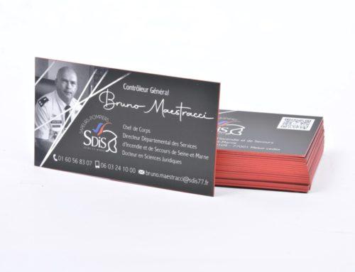 Cartes de visite Colonnel SDIS – Contre collage duplex 700gr/m2 – Pelliculage Soft Touch – Dorure numérique Argent – Couleur sur tranche rouge