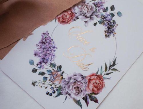 Save the date mariage floral et dorure numérique rose gold – Pelliculage mat et 4 angles arrondis 9mm