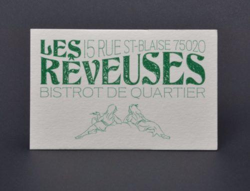 Cartes de visite Bistrot de Quartier – Impression Pantone Vert 356 Thermorelief – Materica Limestone 360gr/m2