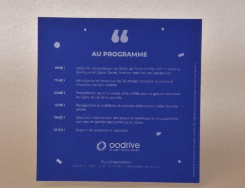 Carton d'invitation sur papier recyclé à base de pomme de terre – Impression blanche numérique – Curious Matter Adiron blue 270