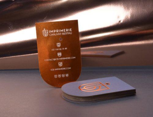 Carte de visite ICB – Dorure à chaud cuivre en aplat et contre collage Couché mat et Colorplan Impérial Blue 540gr/m2 – Découpe laser arrondie