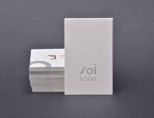 Cartes de visite contre collées duplex 540gr/m2 avec marquage à chaud argent mat et impression numérique – Colorplan Pale Grey