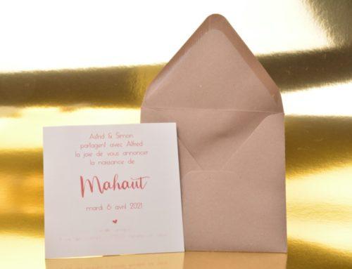 Faire-part de Naissance carré sur papier de création Old Mill Premium White 300gr/m2 et enveloppe kraft 14x14cm recyclé