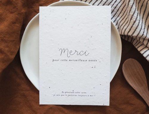 Carte de remerciement pour maîtresse sur papier ensemencé au graines de fleur sauvages