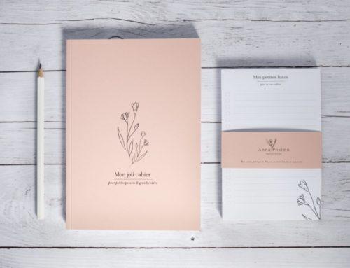 Carnet de notes Illustratrice nature rose poudré avec reliure dos carré collé – Couverture Woodstock Cipria 260gr/m2 et pages en papier recyclé Nautilus superwhite