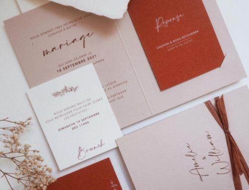 Faire-part de mariage Terracotta pochette avec 4 encoches et enveloppes bords frangés – Keaykolour Biscuit 300 gr/m2 et Materica Terra Rossa 360gr/m2 impression blanche numérique