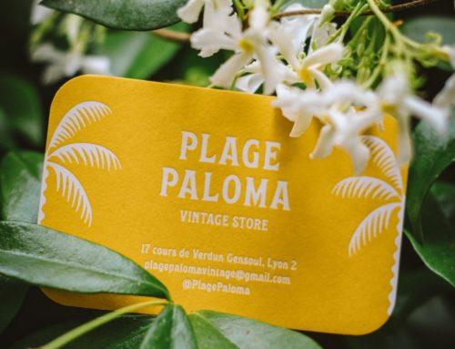 Carte de visite boutique vêtements vintage – Marquage à chaud blanc brillant – Colorplan Citrine 350gr/m2 – 4 angles arrondis 9mm