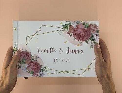 Livre d'or fleuri pour mariage avec couverture rembordée et reliure 3 vis laiton – format paysage