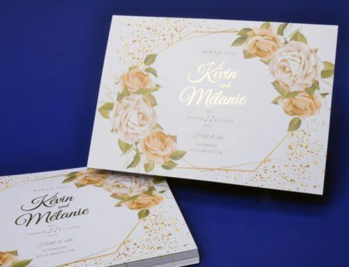 Faire-part de mariage A6 avec Bouquet de roses blanches – Dorure numérique OR sur papier texturé Création Pack 350gr/m2