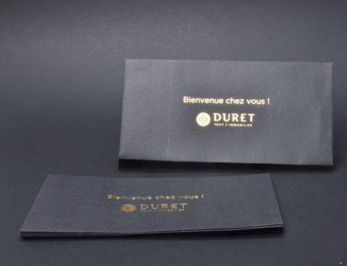 Enveloppes DL Noir avec logo en dorure à chaud OR pour Promoteur immobilier