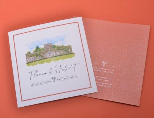 Faire-part de mariage dépliant carré Chateau & Terracota – Old mill 300gr/m2 Premium White