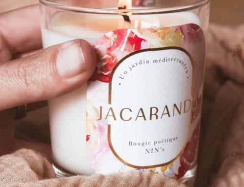 Etiquette sur mesure en dorure à chaud or mat pour bougie poétique parfumée – Papier texturé tintoretto 140gr/m2