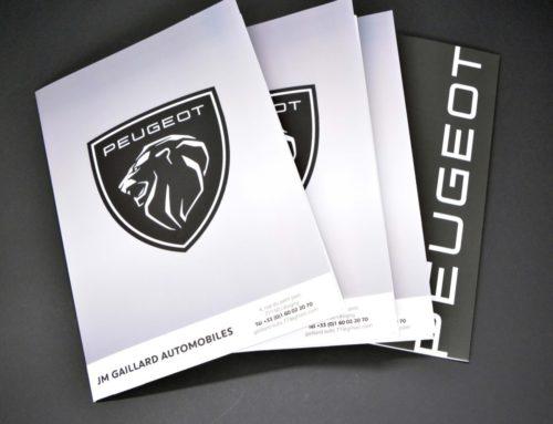 Chemise à rabat 2 volets pour garage Peugeot- Pelliculage soft touch 350gr/m2