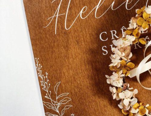 Panneau en bois pour Mariage Atelier des Sucreries – Impression blanche sur planche de bois 5mm
