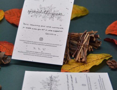 Carte de remerciement pour e-commerce cosmetiques naturels sur papier ensemencé fleurs sauvages 250gr/m2