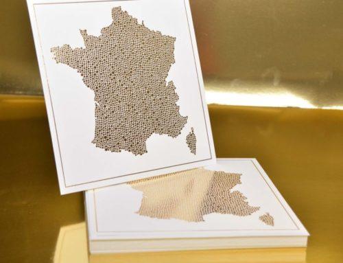 Cartes Postale artiste carrées avec carte de France – Dorure à chaud Or Brillant – Old mill 300gr/m2 Premium White