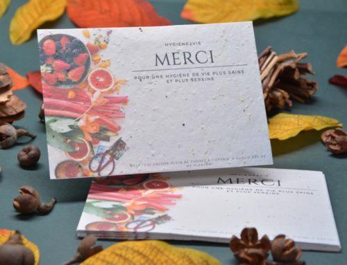Carte de remerciement Naturopathe A6 healthy food sur papier recyclé et ensemencé aux graines de fleurs sauvages 250gr/m2